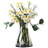 FOTGL Narciso de Flores Artificiales con florero Flor Falsa Floral for decoración del hogar