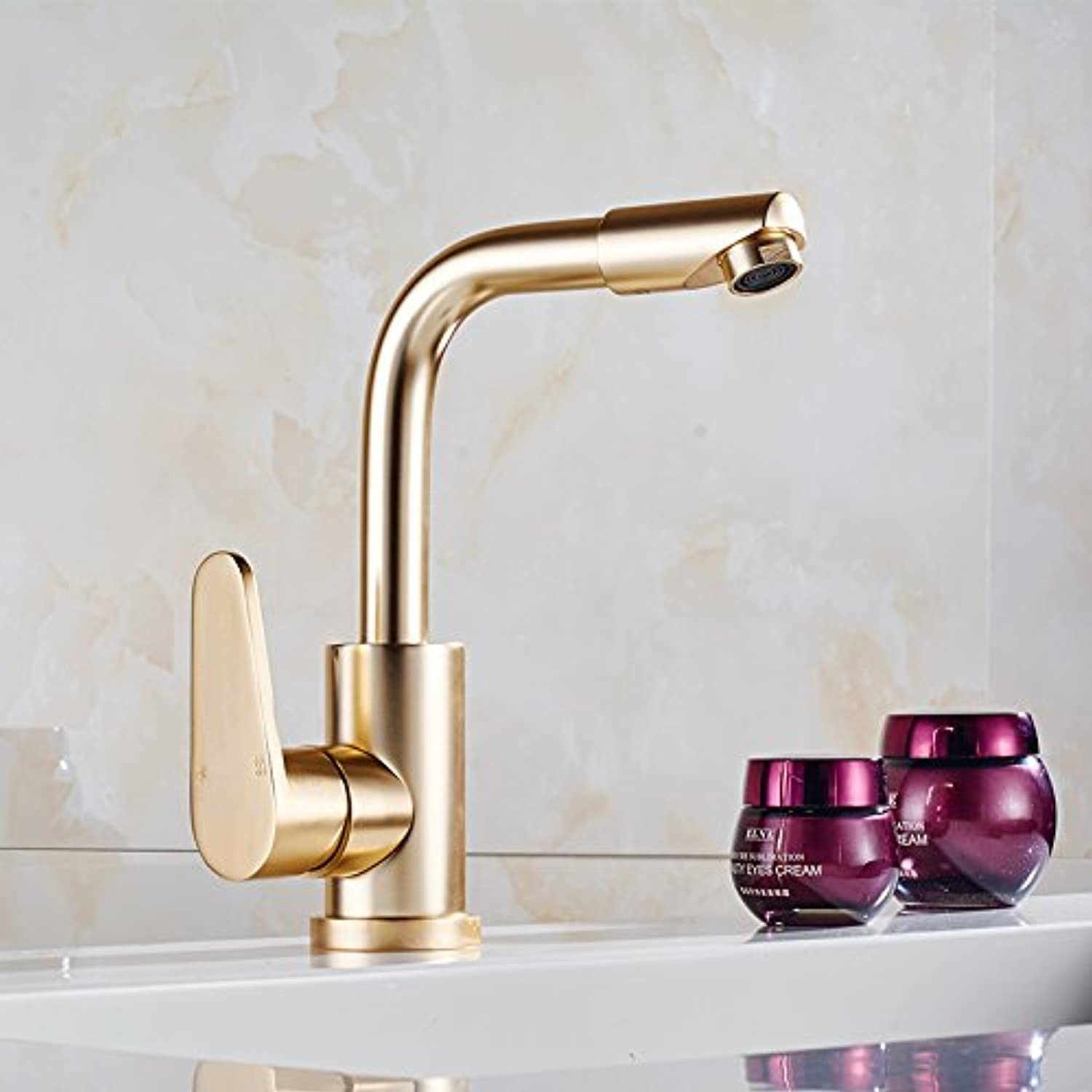 LHbox Basin Mixer Tap Continental gold taps full copper hot and cold faucets bathroom plus high bluee-tiled table top basin gold plated antique taps, space bauxite Ho Kim Taps