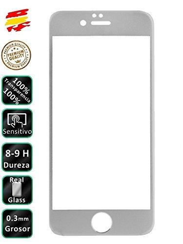 Movilrey Protector para iPhone 7 Plus Plata Completo 3D Cristal Templado de...