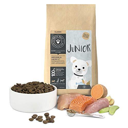 Junior Hundefutter trocken 2 kg | Premium-Qualität | Geflügel & Lachs mit Leinsamen | Trockenfutter für junge Hunde mit 60% Fisch- & Fleischanteil, getreidefrei und ohne unnötige Zusätze