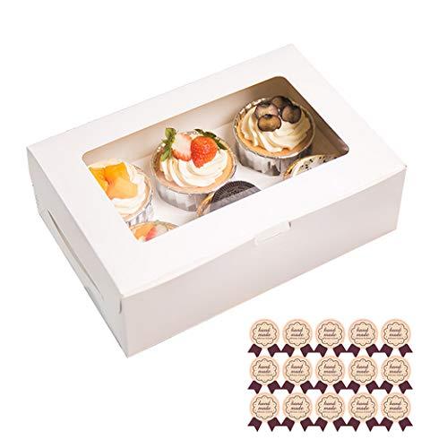 Emwel - Scatole per torte e cupcake, 6, 12 scatole per cupcake, 6 pezzi, colore: bianco