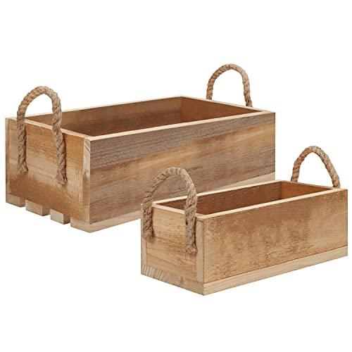 BELLE VOUS Cajas de Madera con Asas de Cuerda (Pack de 2) Caja Madera Abierta Decorativa Apilable – para Usar en Hogar,...