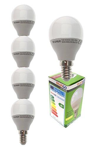 Preisvergleich Produktbild TRANGO 5er Pack 3-Stufen dimmbare LED Leuchtmittel 5 Watt 400 Lumen E14 Globe Kugel Tropfen Energiesparlampe 5TGE14035GD 3000K warmweiß zum Austausch Glühbirnen,  Glühlampen,  Abstrahlwinkel 180°