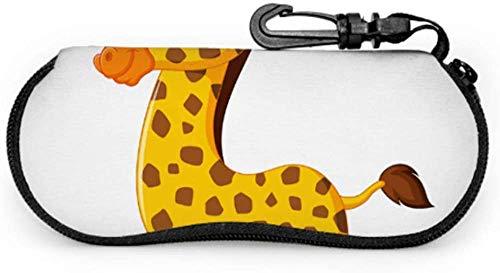 Jirafa dibujos animados encantador animal amarillo gafas de sol para hombre con funda delgada gafas caso ligero neopreno portátil cremallera suave caso hombres gafas de sol caso