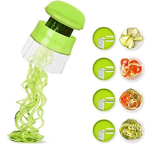 KUACALL Handheld Spiralizer Vegetable Slicer 4 in 1 Veggie Spiral Cutter Zucchini Noodle Maker product image
