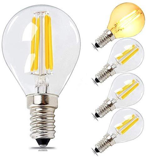 BRIMAX LED-Lampe E14 Sphärisches G45-Filament 4 W, runde Glühbirne Golf Globe Warmweiß Dimmbar, 40 W Glühlampenäquivalent, 2700 K kleine Schraube, Glühlampenersatz-Kronleuchter-Leuchttafel, 4er-Set