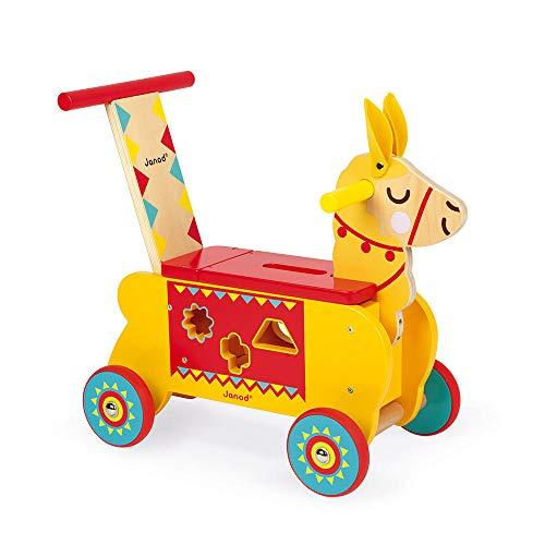 Janod - J08004 - Carrito de madera con diseño de llama, color amarillo y rojo, ruedas silenciosas, compartimento de almacenamiento y 6 bloques, aprendizaje del equilibrio para niños a partir de 1 año
