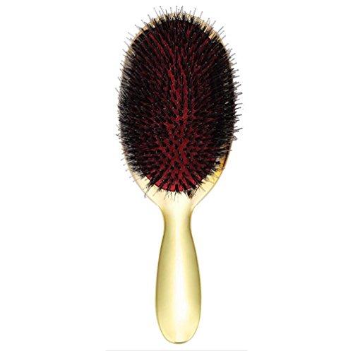 VLUNT Brosse à Cheveux en Soies de Sanglier, Anti-statique Brosse à Cheveux Doux Peigne de Massage, pour Séchage et Coiffure