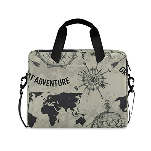 Cuteprint Laptop Case Bag Nautical World Map Compass Laptop Sleeves Briefcase Messenger Bag with Strap for Woman Man Business Office School,14 15.6 Inch