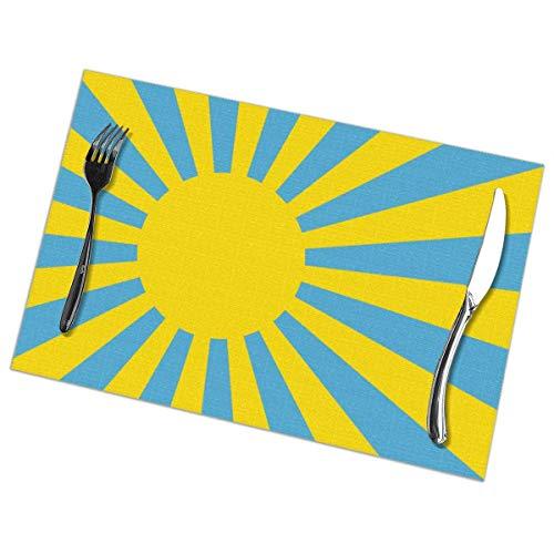 JONINOT Mantel Individual Palau Rising Sun Flag Manteles Individuales Mantel Individual Resorte Buena Resistencia a Las Arrugas para Comedor Mesa de Cocina Juego de 6
