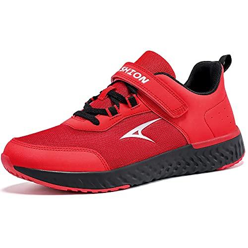 Scarpe Sportive Bambini e Ragazzi Scarpe da Corsa Ginnastica Respirabile Mesh Running Sneakers Fitness Casual(I Rosso,38 EU)