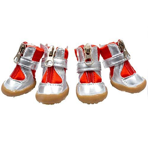 JINSUO FDCW Zapatos del Perro, Cuatro Estaciones, Zapatos cómodos, Antideslizante, Transpirable, Suela de Goma, Perrito Protector de Garra, Traje de Cuatro Piezas (Color : Orange, Talla : 3)