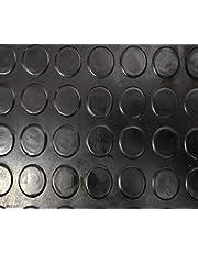 Revestimiento de Caucho Antideslizante   Suelo de Goma PVC Negro 3mm Diseño Botones (140_x_250 CM)