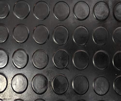 Revestimiento de Caucho Antideslizante | Suelo de Goma PVC Negro 1mm Diseño Botones (140_x_200 CM)