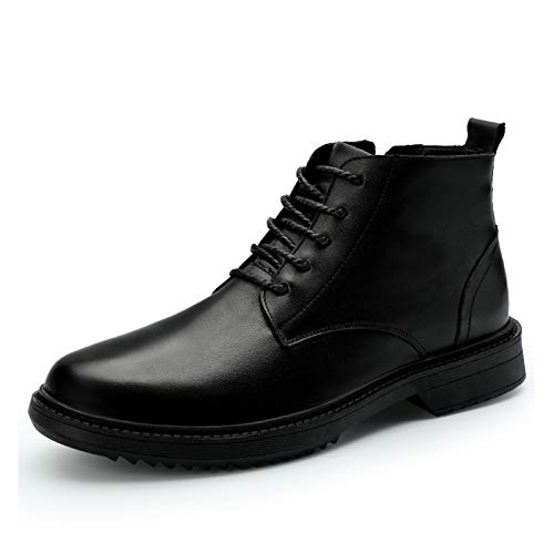 Datouya Men's Oxford Boots Round Toe Mid-top Lace-up Low-Heel Rubber Sole Outdoor Casual Shoes Provide The Best Comfort for Your All-Weather Life (Color : Black, Size : 40 EU)