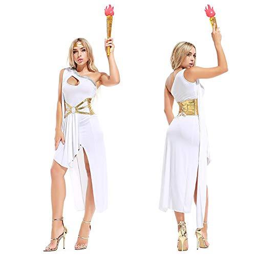 Halloween Cosplay diosa griega blanco noble vestido suave fiesta etapa árabe princesa traje (Ropa)