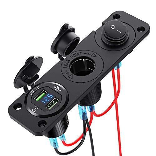 RUIZHI Cargador de coche con panel para encendedor de cigarrillos, 12 V, doble USB, cargador con voltímetro LED, para barco/marino/camión/moto