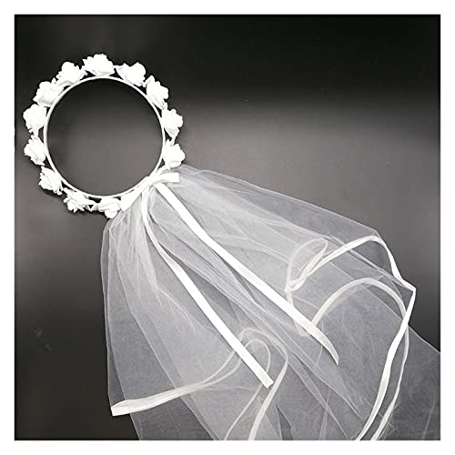 Chenhan Velo De Novia Mujeres bridales Velo Flor Blanco Guirnalda de Pelo Guirnalda Boda Diadema Corona Ajustable Encaje Arriba Cinta Bachelorette Fiesta Accesorio Cinta