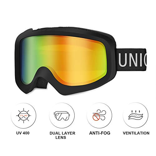 Unigear Skido X1 Ski Goggles, Snowboard Snow Goggles for Men, Women & Youth – Anti-Fog & 100% UV Protection (Revo Red Lens (VLT 13.4%))