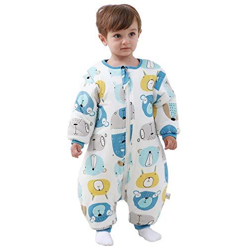 Baby Schlafsack mit Beinen warm gefüttert Winter Langarm Winterschlafsack mit Fuß 3,5 Tog (L/Körpergröße 90cm-100cm, Blau)