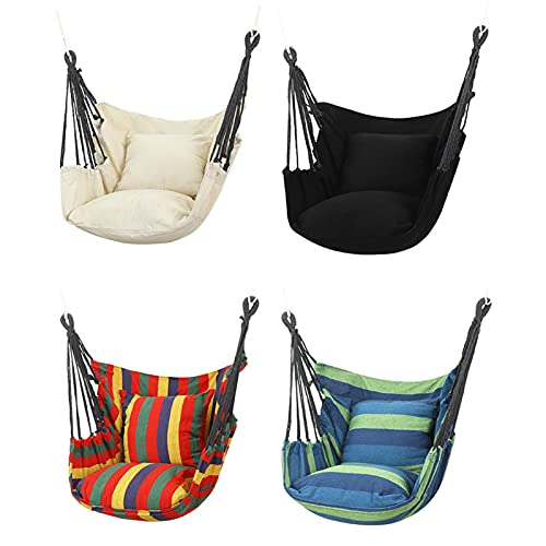 Canvas Hammock Chair Hanging Rope Swing Chair Seat - College Student Dormitory Hanging Chair,Max Load 500lbs,Suitable for Indoor and Outdoor(Many Colors are Availabl Light khaki
