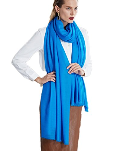 Prettystern prettystern Extra Großer Wolltuch Pashmina XXL Tuch 100 Garn 100% Wolle Fein Weich - Blau