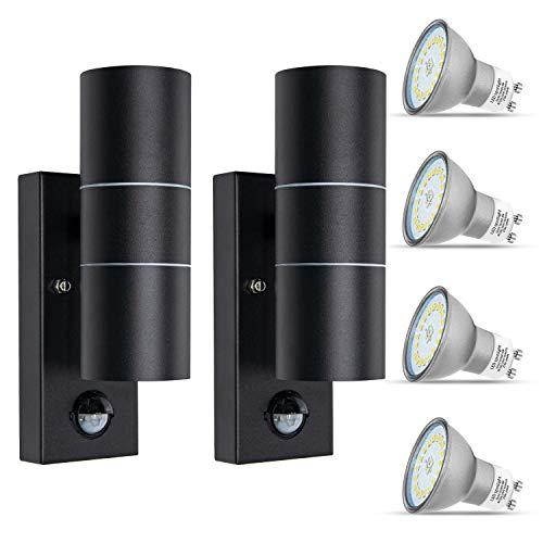 2er Außenlampe mit Bewegungsmelder IP44 Set Anthrazit Modern GU10 LED Aussenleuchten Up und Down 230V Wandlampe Aussen inkl. 5W Warmweiß Glühbirne