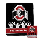 Personalized Ohio State Silhouette Pixel Fleece Blanket