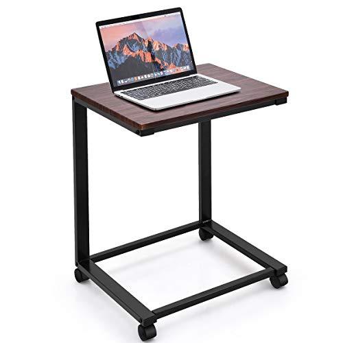 COSTWAY Laptoptisch mit Rollen, Beistelltisch Sofatisch Notebooktisch Pflegetisch Ablagetisch Metall + Holz 50x40x65cm (Schwarz)