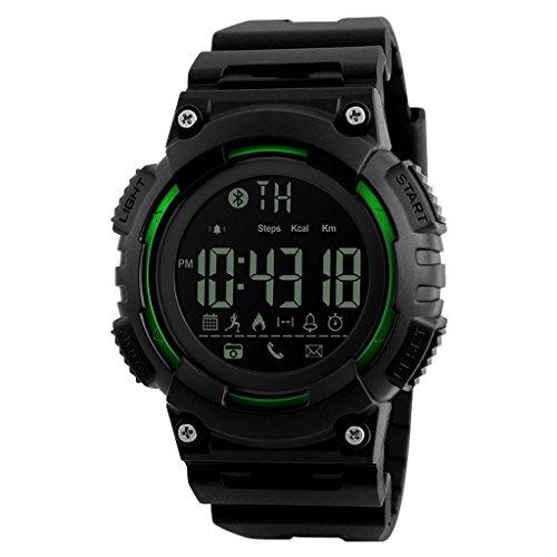 TY-JFSM Herrenuhr Mode-Outdoor-Sport-Multifunktions-Digitaluhr Wasserdicht Großen Zifferblatt Wasserzähler (Farbe : Green)