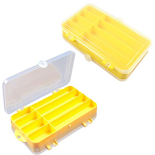 Fishing Accessories Storage Boxes 2 Pieces Plastic Bait Storage Box Double Sided Bait Box Fishing Terminal Tackle Storage Box for Fishing Hook Float Fishing Fine Yellow