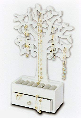 Spetebo - Portagioie a forma di albero con cassetto bianco