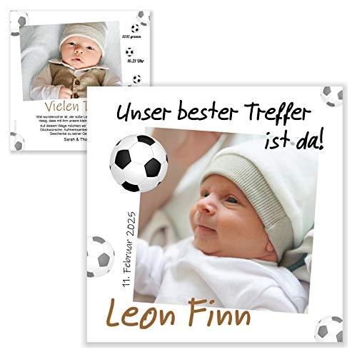 Unser-Festtag Unser bester Treffer Dankeskarte zur Geburt für Jungs Danksagung Karten bedanken mit Baby-Fotos, Text änderbar - 90 Karten