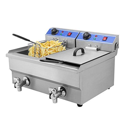 HODOY 3000W Friggitrice Elettrica Professionale Capacità 20L Friggitrice Patatine Fritte Friggitrice Per Cucinare In Casa O Negozio Con Doppia Vasche (YB-102V)