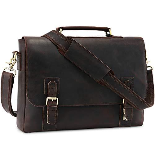 Kattee - Borsa a tracolla da uomo in pelle, per laptop da 15,6', colore: Caffè scuro