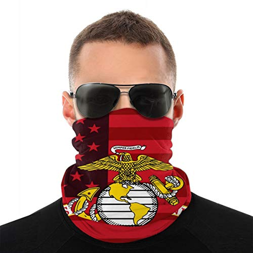 CYISOK Balaclava Tube Face Mask Marine Corps And US Flag Seamless UV Sun Windproof Dustproof Neck Gaiter Scarf Upgraded Version Wider Coverage, Cool Breathable Sports Worker Men Women, White, One Size