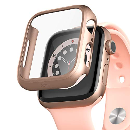 PZOZ Compatible for Apple Watch Series 6/5 /4 /SE 44mm Case with Screen Protector Accessories Slim Guard Thin Bumper Full Coverage Matte Hard Cover Defense Edge for iWatch Women Men GPS (Rose Gold)