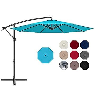Best Choice Products 10ft Offset Hanging Outdoor Market Patio Umbrella w/Easy Tilt Adjustment - Sky Blue