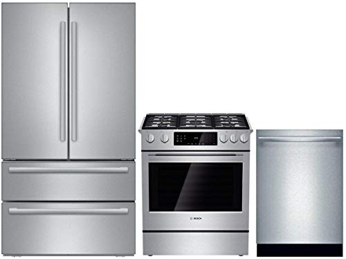 Bosch 3 Piece Kitchen Appliance Package with B21CL81SNS 36' French Door Refrigerator, HGI8054UC 30' Slide-in Gas Range and SHX865YN5N 24' Built In Dishwasher in Stainless Steel