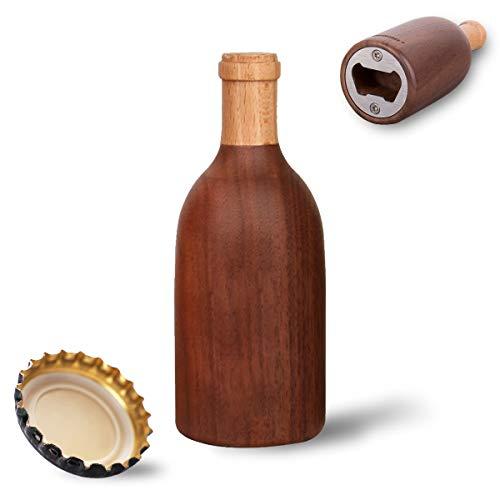 Abrebotellas de Cerveza, Abridor de Botellas de Cerveza de madera, Abridor de Acero Inoxidable, Abridor de Tapas de Vino Cerveza Soda, Accesorios de Herramientas de Cocina