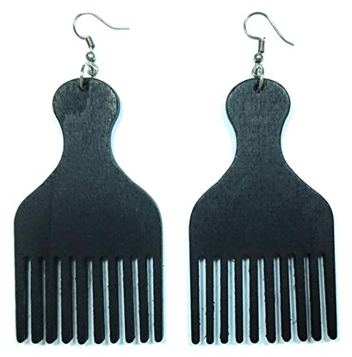 Afro Pick Hair Comb Black African American Natural Wood Women Fashion Jewelry Dangle Earrings (Black)