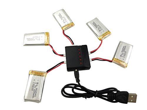 sea jump Lipo Battery Charger+5Pcs 3.7V 600mAh Battery 5in1 for Syma X5C X5C-1 X5A X5 X5SC X5SW H5C V931 S5C S5W SS40 FQ36 T32 T5W H42 Helicopter Part