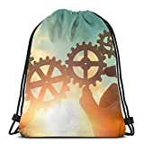 Drawstring Backpack Businessmen Connect Gears Bags Sport Gym Yoga Camping Storage Goodie 1417Inch