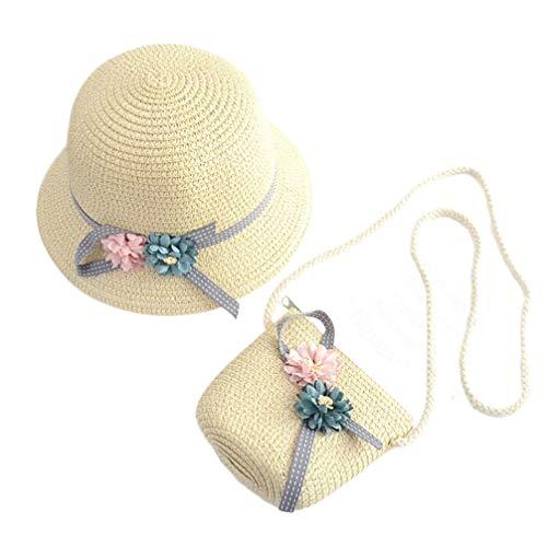 NUOBESTY Sombrero y Bolso de Paja, Flores Sombrero de Paja para El Sol Sombrero Playa Gorras Verano Sombrero Fiesta de té Billetera para Niñas de 3 a 12 Años (Beige)