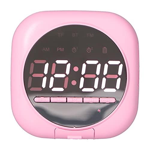 PUSOKEI Mini Altavoz, Altavoz Inalámbrico LED con Reloj De Espejo, Estabilidad Y Llamadas Manos Libres De Alta Definición para Dispositivos, Altavoz De Graves con Reloj Despertador Doble(Rosado)
