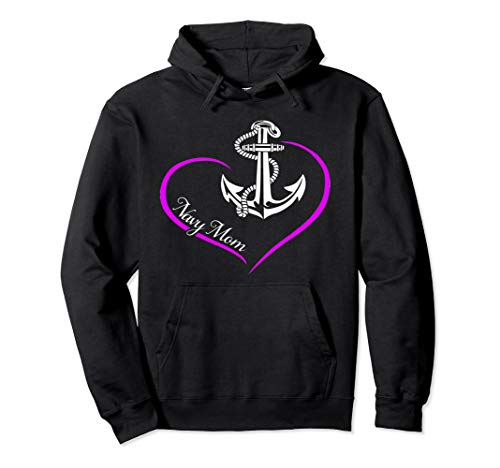 U.S. NAVY PROUD NAVY MOM NAVAL MOM HEART NAVY MOTHER GIFT Pullover Hoodie