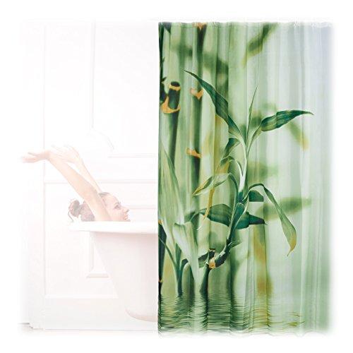 Relaxdays Duschvorhang Bambus Design, Polyester, Textil, waschbar, Pflanze, Stoff, 200 x 180 cm, Wannenvorhang, grün
