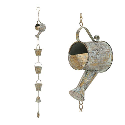 Brogan Rustic Metal Watering Can and Buckets Decorative Rain Chain, with Bell Chime, Hanging Display for Outdoor Patio Garden Yard Accents Farmhouse Decoration (Verdigris)