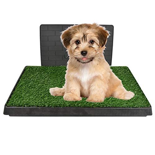 GreeSuit Toilette per cani con erba artificiale, 76 x 50 cm, tappetino da addestramento per toilette, con parete di simulazione di protezione