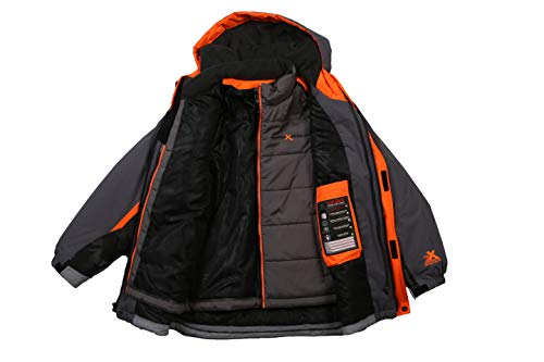 ZeroXposur Boy's Ranger 3-in-1 Water/Wind Resistant Systems Jacket with Removable Hood and Detachable Inner Jacket (Metal, Medium)